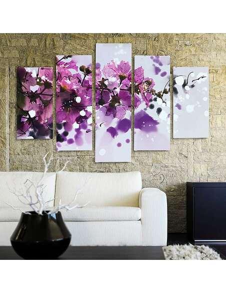 Composition de 5 tableaux BRANCHE BLOSSOMING imprimé sur toile - par Feeby