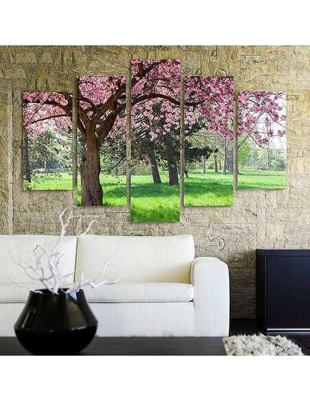 Composition de 5 tableaux FLOWERING TREE imprimé sur toile - par Feeby