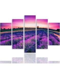 Composition de 5 tableaux UN PAYSAGE DE LAVANDE imprimé sur toile - par Feeby