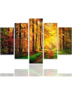 Composition de 5 tableaux ROUTE FORESTIÈRE imprimé sur toile - par Feeby