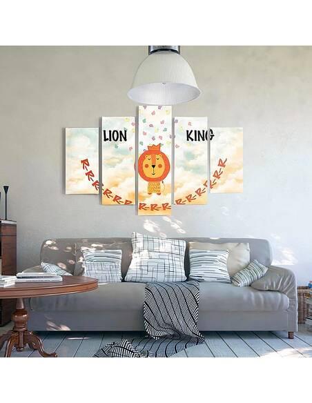 Composition de 5 tableaux LE ROI LION imprimé sur toile - par Feeby