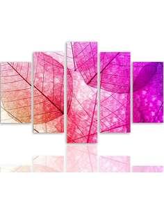 Composition de 5 tableaux A FEUILLES ROSES imprimé sur toile - par Feeby