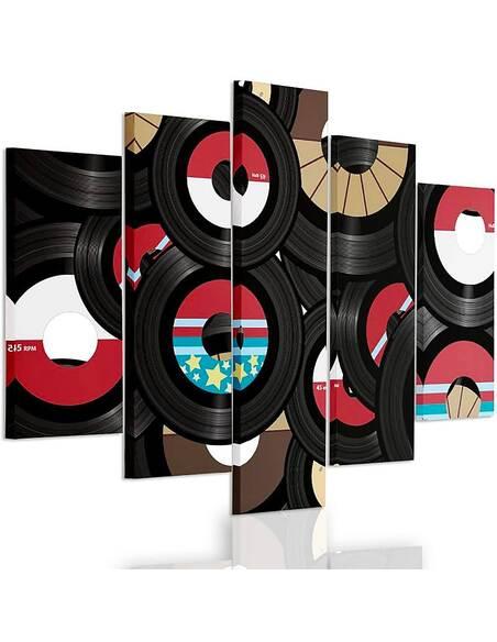 Composition de 5 tableaux LONGPLAYS imprimé sur toile - par Feeby