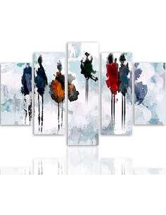 Composition de 5 tableaux ARBRE DE PEINTURE imprimé sur toile - par Feeby