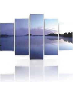 Composition de 5 tableaux BRUME SUR LE LAC imprimé sur toile - par Feeby