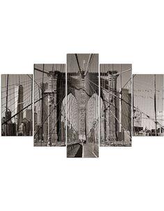 Composition de 5 tableaux PONT DE BROOKLYN imprimé sur toile - par Feeby