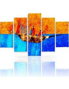 Composition de 5 tableaux SUR LE BATEAU imprimé sur toile - par Feeby
