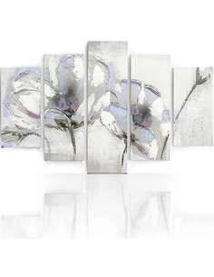 Composition de 5 tableaux A FLEURS PEINTES imprimé sur toile - par Feeby