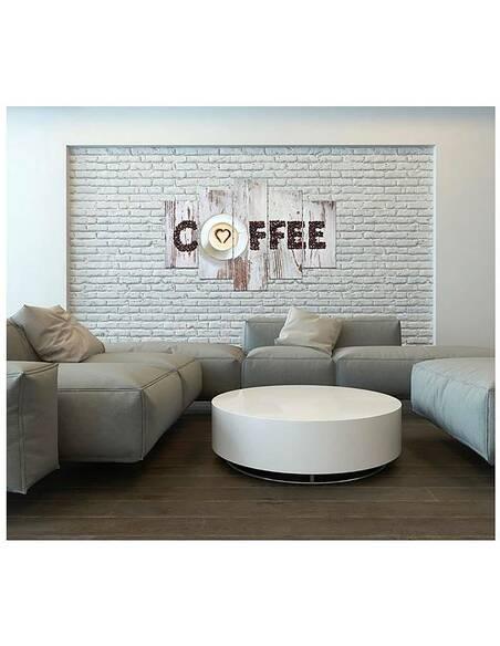 Composition de 5 tableaux INSCRIPTION CAFÉ AVEC DES GRAINS DE CAFÉ imprimé sur toile - par Feeby
