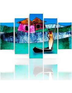 Composition de 5 tableaux UNE DAME SUR LE BATEAU imprimé sur toile - par Feeby