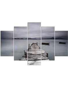 Composition de 5 tableaux PONT ET BATEAU imprimé sur toile - par Feeby