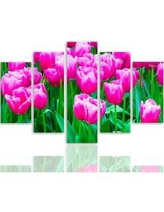 Composition de 5 tableaux A TULIPES ROSES 1 imprimé sur toile - par Feeby