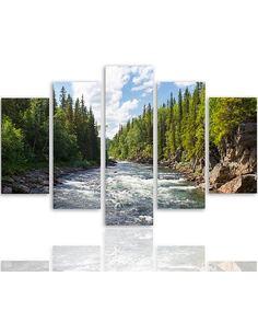 Composition de 5 tableaux RIVIÈRE DANS LA FORÊT imprimé sur toile - par Feeby