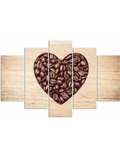 Composition de 5 tableaux UN COEUR EN GRAINS DE CAFÉ imprimé sur toile - par Feeby