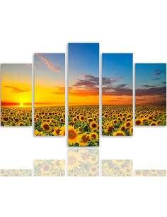 Composition de 5 tableaux PAYSAGE TOURNESOL imprimé sur toile - par Feeby