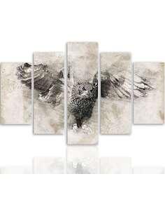 Composition de 5 tableaux HIBOU EN VOL 1 imprimé sur toile - par Feeby