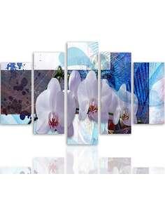 Composition de 5 tableaux LA D'ORCHIDÉES imprimé sur toile - par Feeby