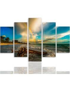 Composition de 5 tableaux ARC EN CIEL AU-DESSUS DE LA PLAGE imprimé sur toile - par Feeby