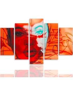 Composition de 5 tableaux TAPEZ LE VISAGE D'UNE FEMME imprimé sur toile - par Feeby