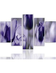 Composition de 5 tableaux TULIPES ULTRAMARINES imprimé sur toile - par Feeby