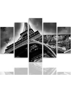 Composition de 5 tableaux LA TOUR EIFFEL DANS LES NUAGES imprimé sur toile - par Feeby