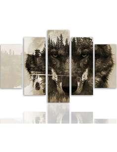 Composition de 5 tableaux LOUP SUR UN FOND DE FORÊT BRUN imprimé sur toile - par Feeby