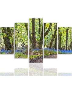 Composition de 5 tableaux PRINTEMPS DANS LE PARC imprimé sur toile - par Feeby