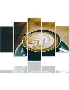 Composition de 5 tableaux CAFÉ FORMULE imprimé sur toile - par Feeby
