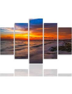 Composition de 5 tableaux COUCHER DE SOLEIL SUR LA PLAGE 3 imprimé sur toile - par Feeby