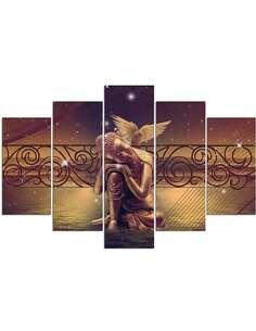 Composition de 5 tableaux BOUDDHA D'OR imprimé sur toile - par Feeby