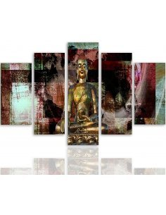 Composition de 5 tableaux BOUDDHA D'OR 3 imprimé sur toile - par Feeby
