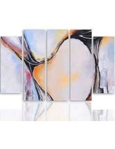 Composition de 5 tableaux ABSTRACTION 35 imprimé sur toile - par Feeby