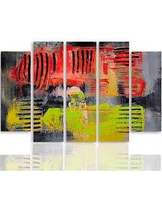 Composition de 5 tableaux ABSTRACTION 38 imprimé sur toile - par Feeby