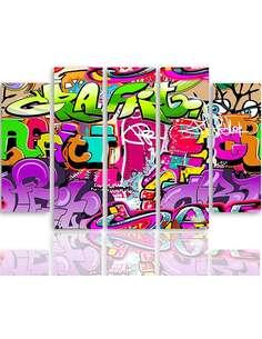 Composition de 5 tableaux ABSTRACTION 3 imprimé sur toile - par Feeby