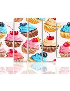 Composition de 5 tableaux MUFFINS AUX FRUITS imprimé sur toile - par Feeby