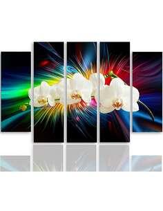 Composition de 5 tableaux UNE ORCHIDÉE BLANCHE imprimé sur toile - par Feeby