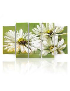 Composition de 5 tableaux FLEURS BLANCHES imprimé sur toile - par Feeby