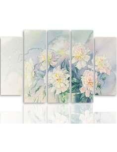 Composition de 5 tableaux FLEURS BLANCHES DANS UN POT imprimé sur toile - par Feeby