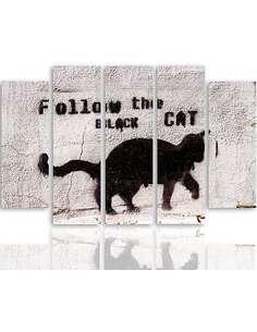 Composition de 5 tableaux BLACK CAT imprimé sur toile - par Feeby