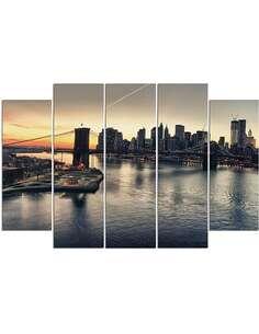 Composition de 5 tableaux LE PONT DE BROOKLYN À NEW YORK imprimé sur toile - par Feeby