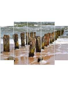 Composition de 5 tableaux LES BRISE-LAMES SUR LA PLAGE imprimé sur toile - par Feeby