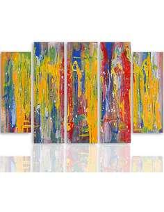 Composition de 5 tableaux PEINTURES ABSTRACTION imprimé sur toile - par Feeby
