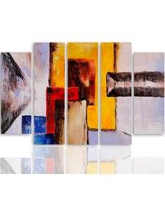 Composition de 5 tableaux FIGURES ABSTRACTION imprimé sur toile - par Feeby