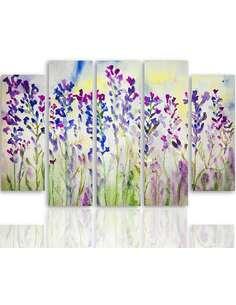 Composition de 5 tableaux CLOCHES POURPRES imprimé sur toile - par Feeby