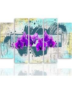 Composition de 5 tableaux FLEURS POURPRES 2 imprimé sur toile - par Feeby