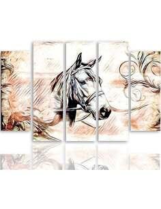 Composition de 5 tableaux TÊTE DE CHEVAL 3 imprimé sur toile - par Feeby