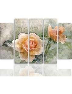 Composition de 5 tableaux ROSES DE THÉ imprimé sur toile - par Feeby