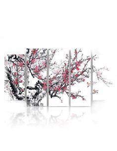 Composition de 5 tableaux CERISIER JAPONAIS imprimé sur toile - par Feeby