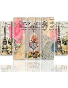 Composition de 5 tableaux CARTE POSTALE DE PARIS imprimé sur toile - par Feeby