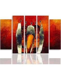 Composition de 5 tableaux DE LA FIGURATIVE imprimé sur toile - par Feeby